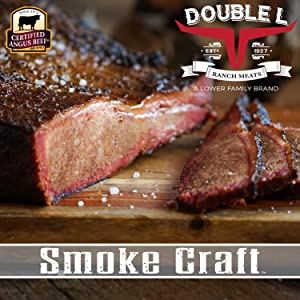 Beef Brisket by Double L Ranch Meats | Hickory Smoked and Sliced | Certified Angus Beef | 10 Lbs.