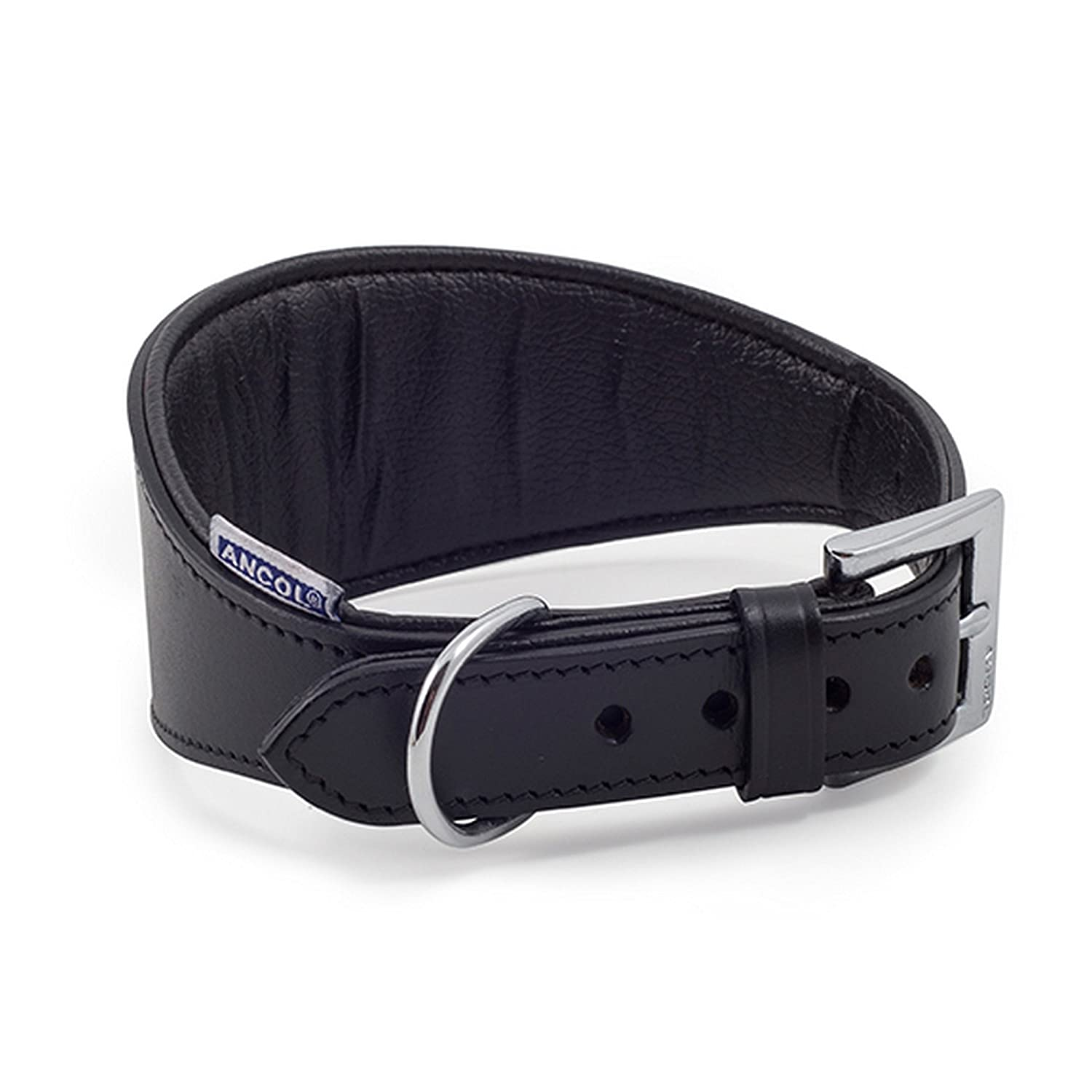 Black 13.7-18.8in (Size 4-5) Black 13.7-18.8in (Size 4-5) Ancol Pet Products Heritage Buckle Fasten Padded Greyhound Collar (13.7-18.8in (Size 4-5)) (Black)