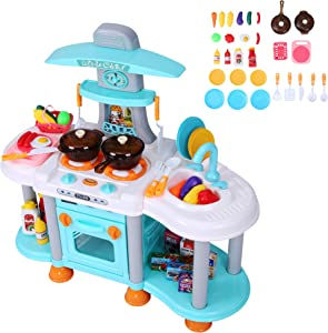 COLOR TREE Kids Large Preschool Pretend Playset Toy Play Kitchen Set with Lights & Sounds - Toddlers Activity Center with 38 PCS Cookware and Play Food for Boys Girls Have Fun with Friends