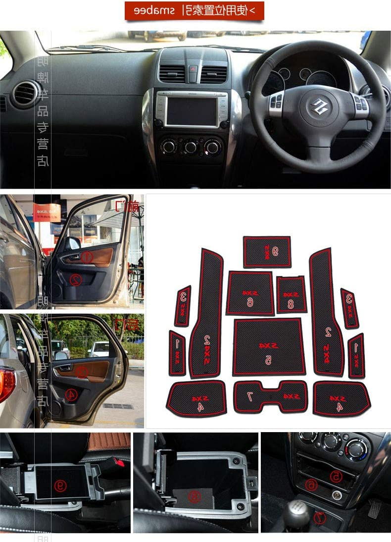 Custom Fit Automotive Cup Holders for Suzuki SX4,Latex Anti-dust Non-Slip Mats Door and Center Console Liner Interior Accessories Red