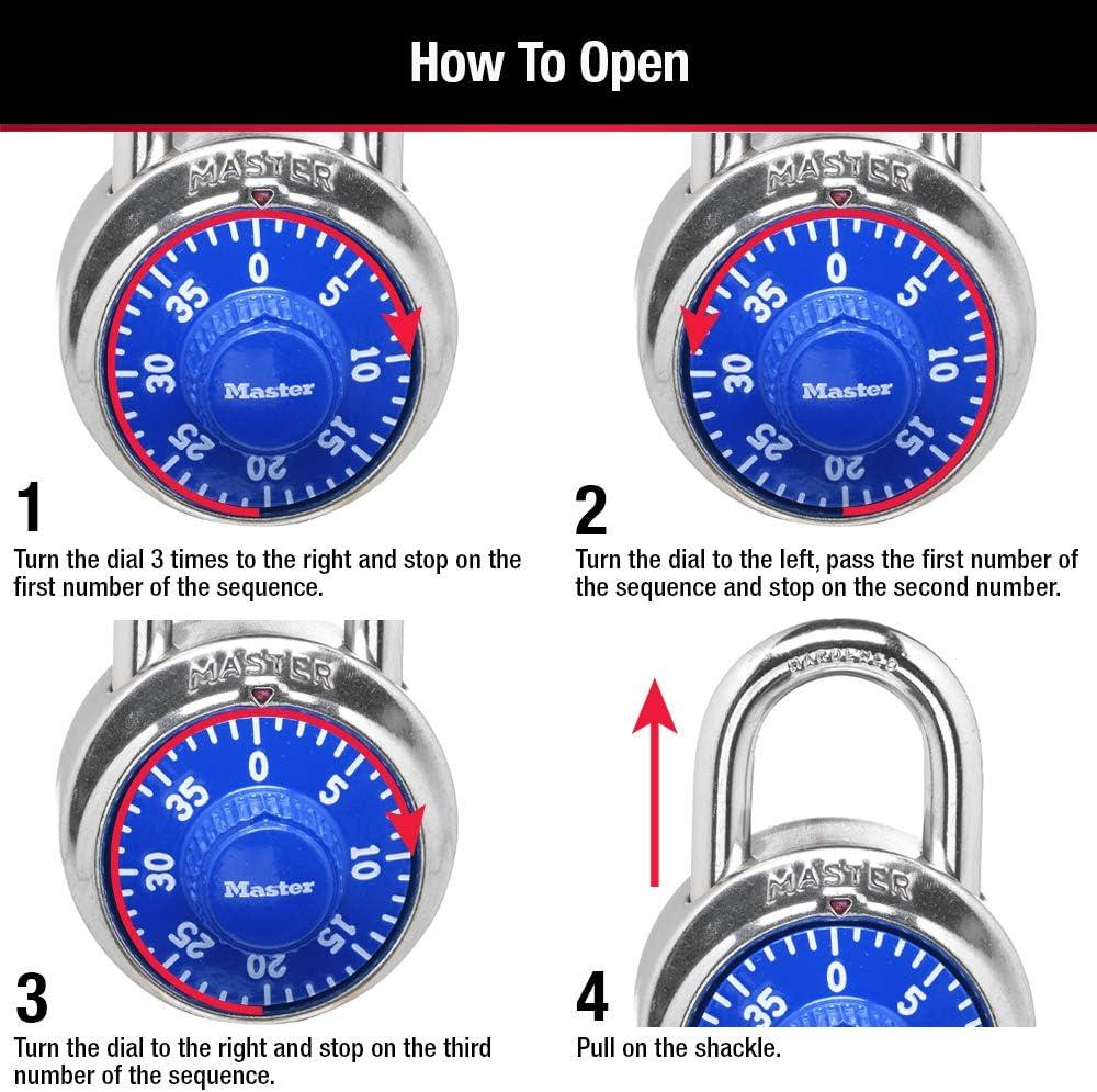 2 Pack Master Lock 1506D Locker Lock Combination Padlock Blue