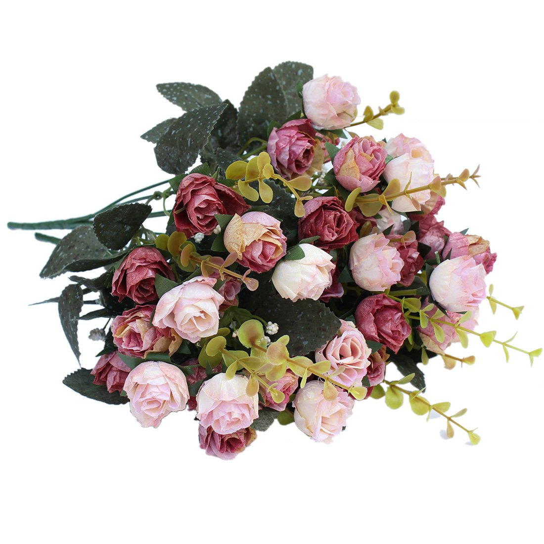 Amazon luyue 7 branch 21 heads artificial silk fake flowers amazon luyue 7 branch 21 heads artificial silk fake flowers leaf rose wedding floral decor bouquetpack of 2 pink coffee home kitchen izmirmasajfo