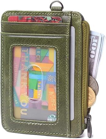 Slim Front Pocket Wallet RFID 100/% Leather Credit Card Holder Case Choose Color