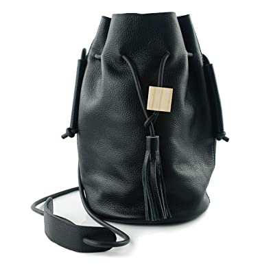 014cbcd168 UER Women s Trend Fashion Handcrafted Cow Leather Bucket Should Bag with  Tassels Ornament (black pebbled