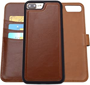 SHANSHUI Wallet Case Compatible with iPhone 7 Plus / 8 Plus, Premium PU Leather Wallet Design RFID Card Slots Cash Pocket Folio Cover 5.5 inch (Brown)