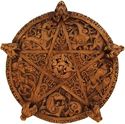 Large Knotwork Pentacle Wall Plaque Wood Finish
