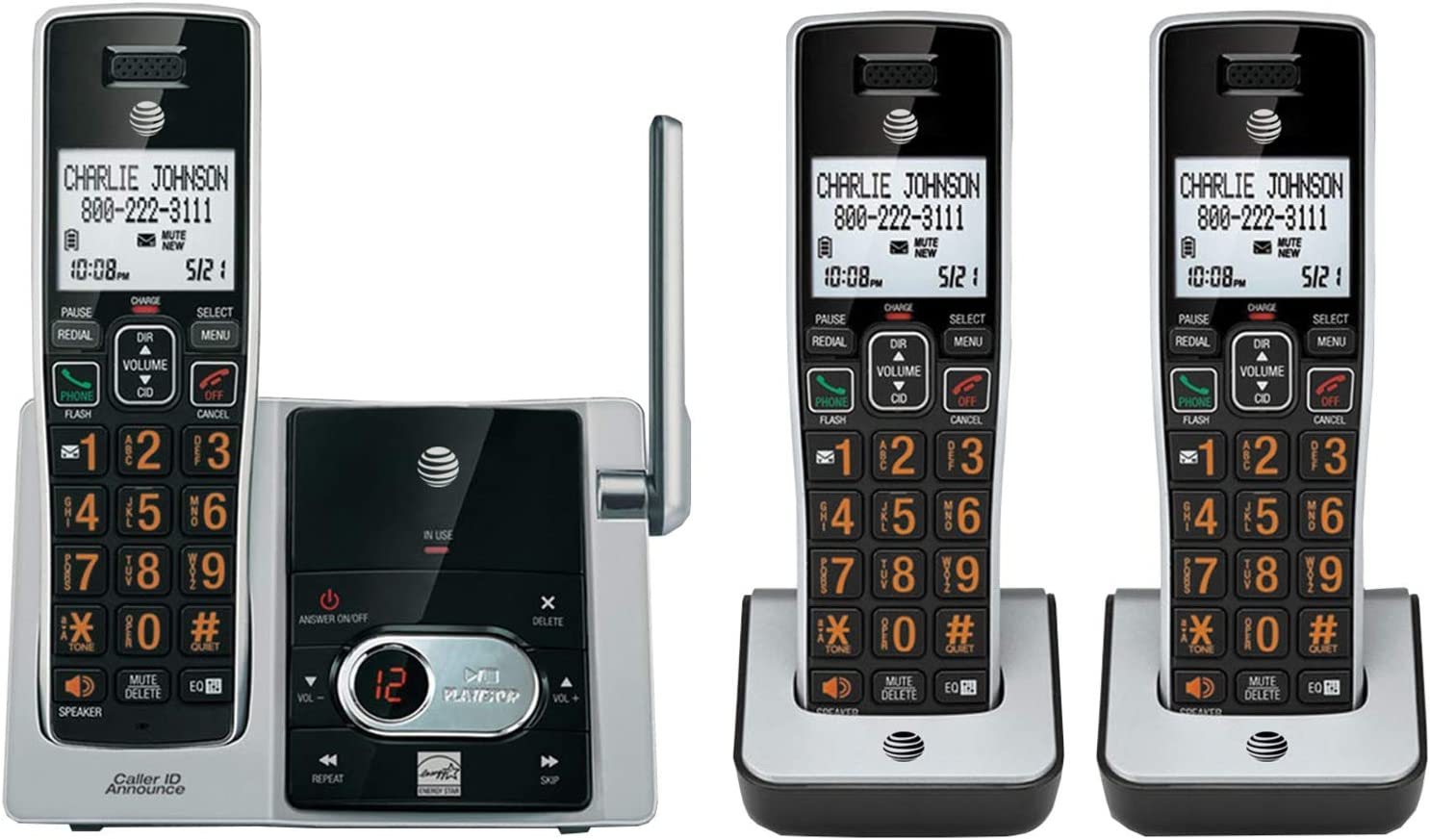 AT&T CL82313 3-Handset Cordless Answering System w/ID Black Steel