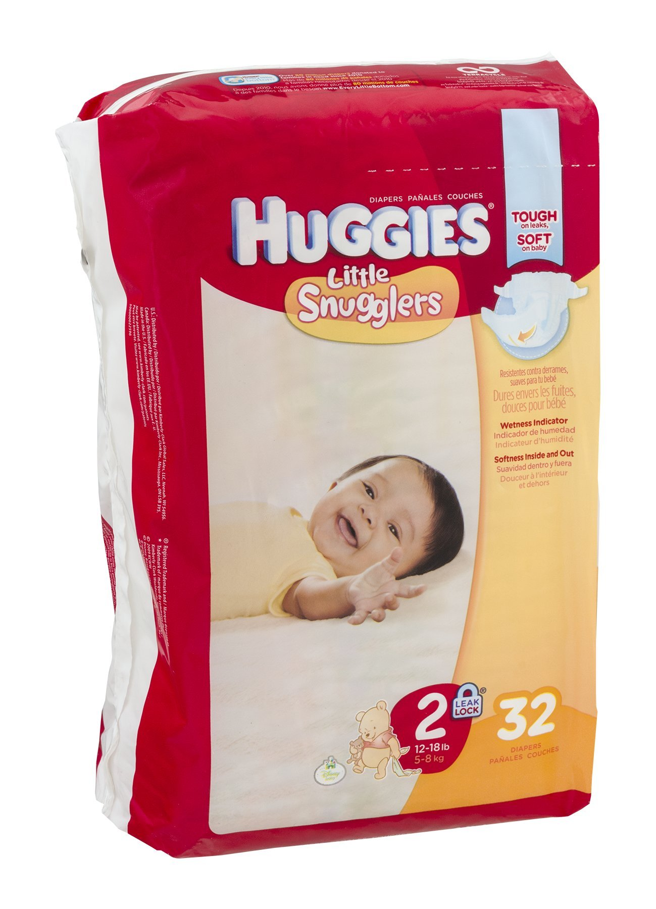 Huggies Little Snugglers Diapers Jumbo, Size 2, 12-18 lbs, 40765 (Case of 128)