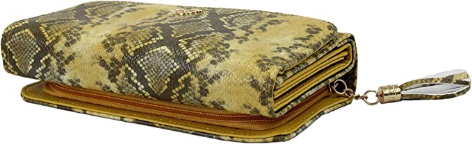 irisaa Damen XXL Geldbörse Portemonnaie Lang Geldbeutel in Snake Optik Wallet