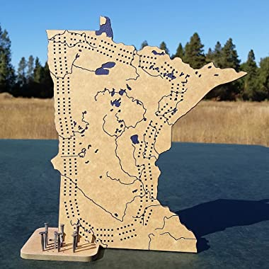 Minnesota 3 Track Cribbage Board Game Set with Engraved Topography, Rustic Nail Pegs and Stand / Counter