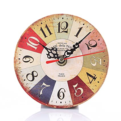 Wooden Vintage Wall Clocks Shabby Chic Rustic Retro Kitchen Home Antique Decor