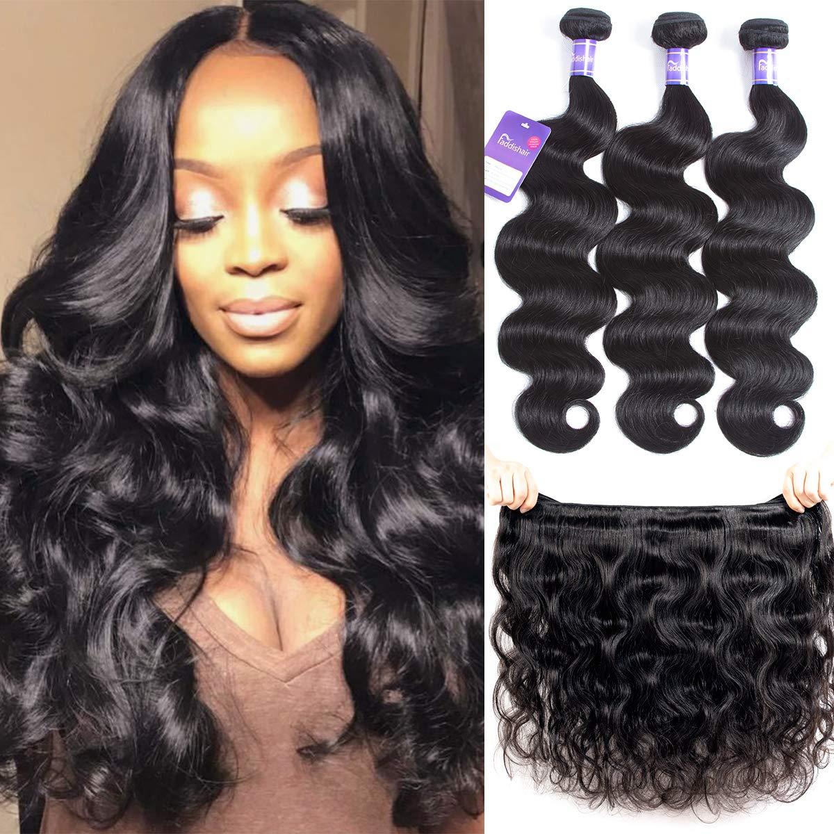 "Amazon.com : Faddishair Brazilian Bundles Virgin Human Hair 14""16""18"" Body  Wave 3 Bundles 100% Unprocessed Virgin Human Hair Weave Brazilian Hair  Bundles : Beauty"