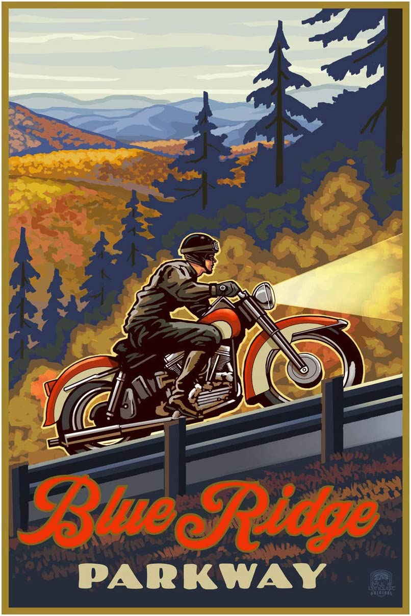 "Blue Ridge Parkway North Carolina Motorcycle Climb Giclee Art Print Poster from Original Travel Artwork by Artist Paul A. Lanquist 12"" x 18"""
