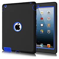 Fingic iPad 2 Case iPad 3 Case iPad 4 Case 3 Layer Rugged Armor High Impact Resistant Hybrid Heavy Duty Rubber Hard PC Shockproof Protective Case for iPad 2nd / 3rd / 4th Generation, Black & Blue