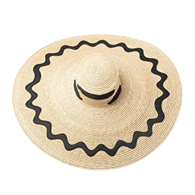 a380b111 Image Unavailable. Image not available for. Color: Super Wide Brim Sun Hat  with Ribbon Ties Women Summer Beach Straw ...