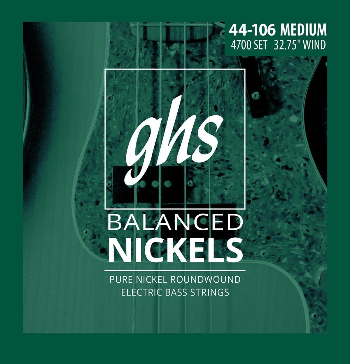 4700 GHS Strings GHS Short Scale Balanced Nickels 4 Bass Strings Medium Gauge 32.75 Winding
