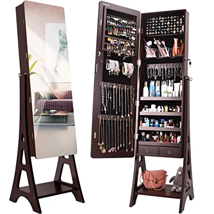 0df758061 TomCare Jewelry Organizer Jewelry Cabinet Tilt Angle Adjustable Free  Standing Jewelry Armoire Lockable Jewelry Box with