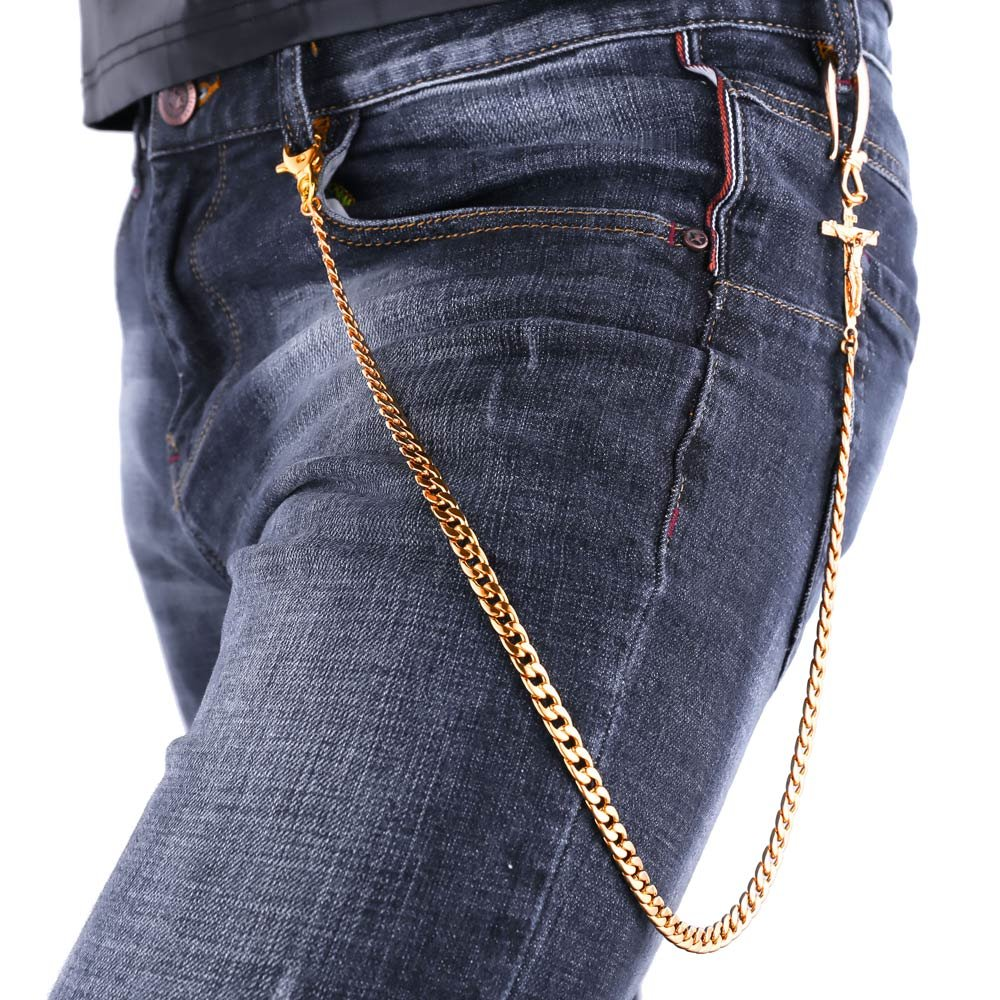 U7 Men Cool Trousers Chain Gold Plated Crucifix Design Punk Key Pants Chain BC2319H