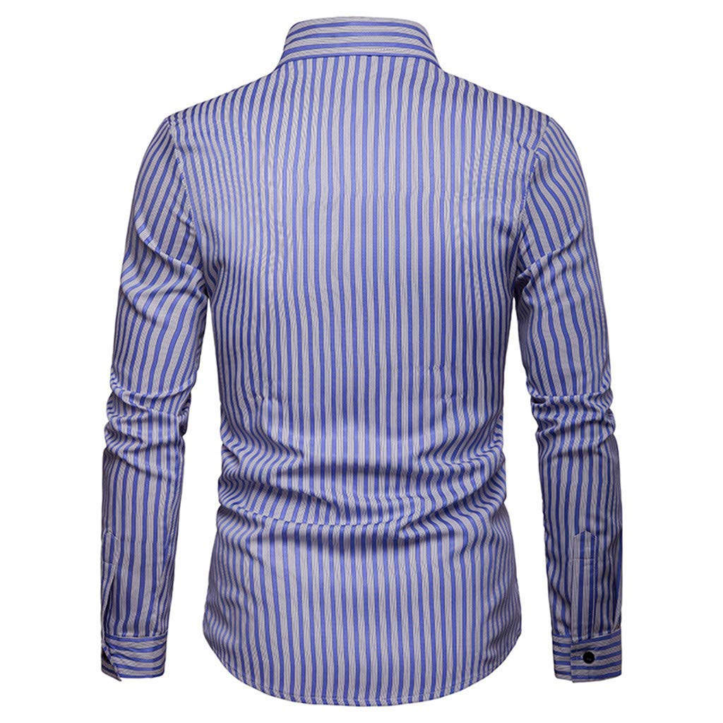 Corsion Mens Business Basic Shirt Male Slim Fit Long Sleeve Stripe Blouse Tops