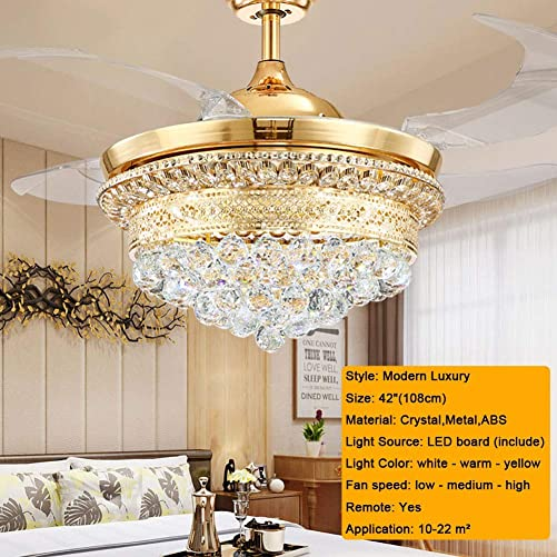 BANBAN Crystal Ceiling Fans with Lights and Remote, LED 3 Light Settings Modern Invisible Retractable Chandelier Fan for Dining Room Bedroom Ceiling Fans 42 inchs