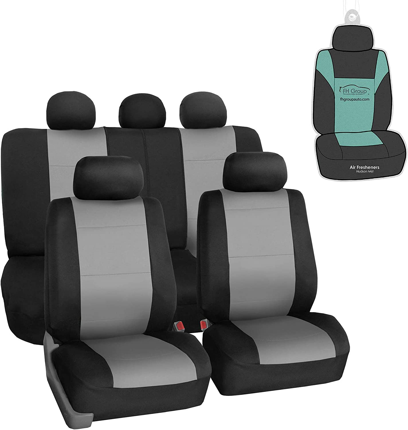 FH Group FB083115 Neoprene Seat Covers (Gray) Full Set with Gift – Universal Fit for Cars Trucks and SUVs