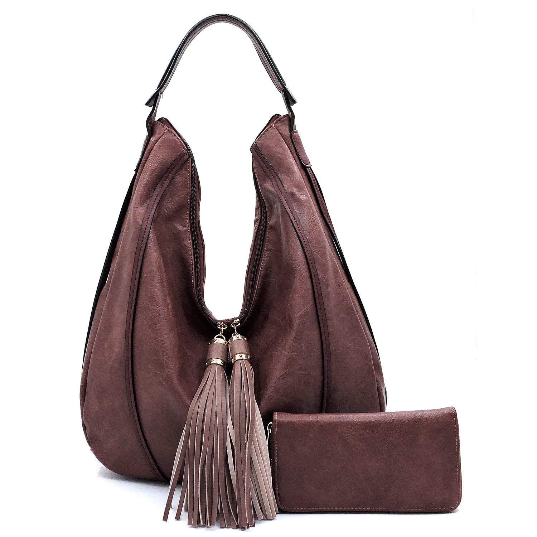 Le Miel Fringe Accent Large Distressed Effect Vegan Leather Hobo + Wallet Burgundy