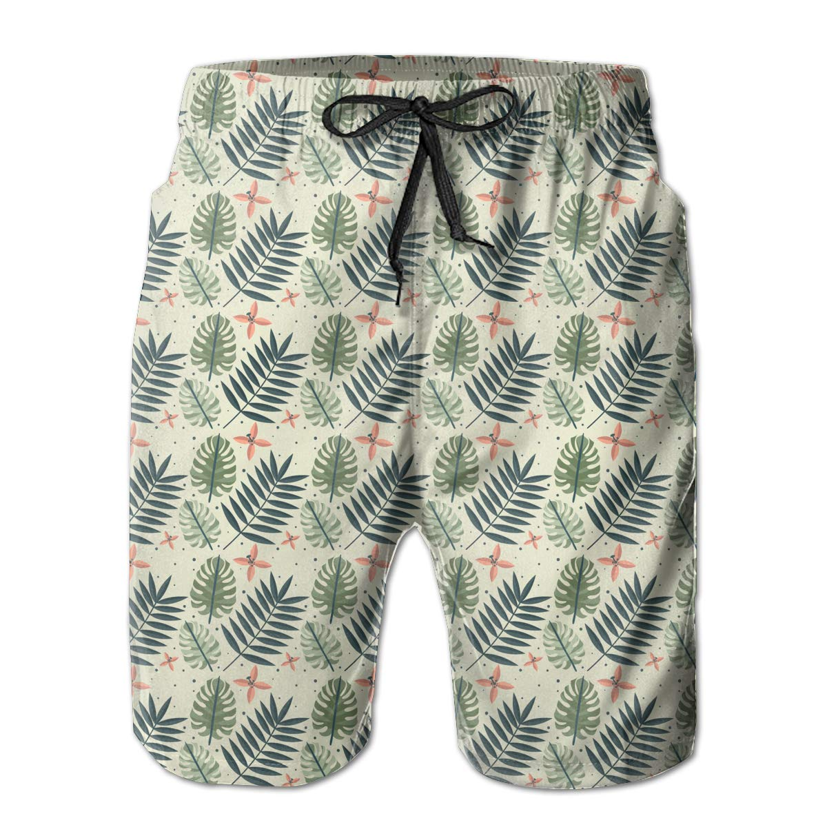 JF-X Palm Tree Leaves Mens Summer Beach Surf Board Shorts Quick Dry Swimming Trunks Casual Loose Sleep Short Pants