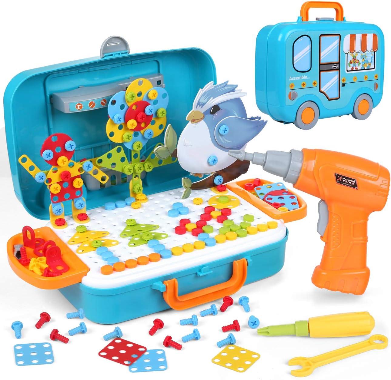 LIHAO 400 Piezas Juguetes Construcción Puzzles 3D Mosaicos para Niños - Juguetes Montessori Rompecabezas Infantil de Tornillos, Pack de Juguetes con Taladro Eléctrico Caja con Ruedas Portátil
