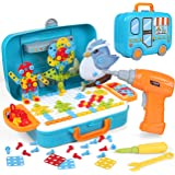 LIHAO 400pcs 3D Electric Drill Toy Set, Constructions Engineering Building Blocks Set, STEM Learning Toys, Engineer…