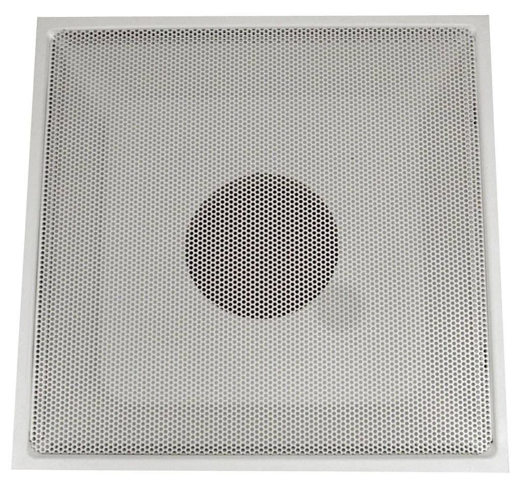 Speedi-Grille TB-PRA 10 24-Inch by 24-Inch White Drop Ceiling T-Bar Perforated Face Return Air Vent Grille with a 10-Inch Collar