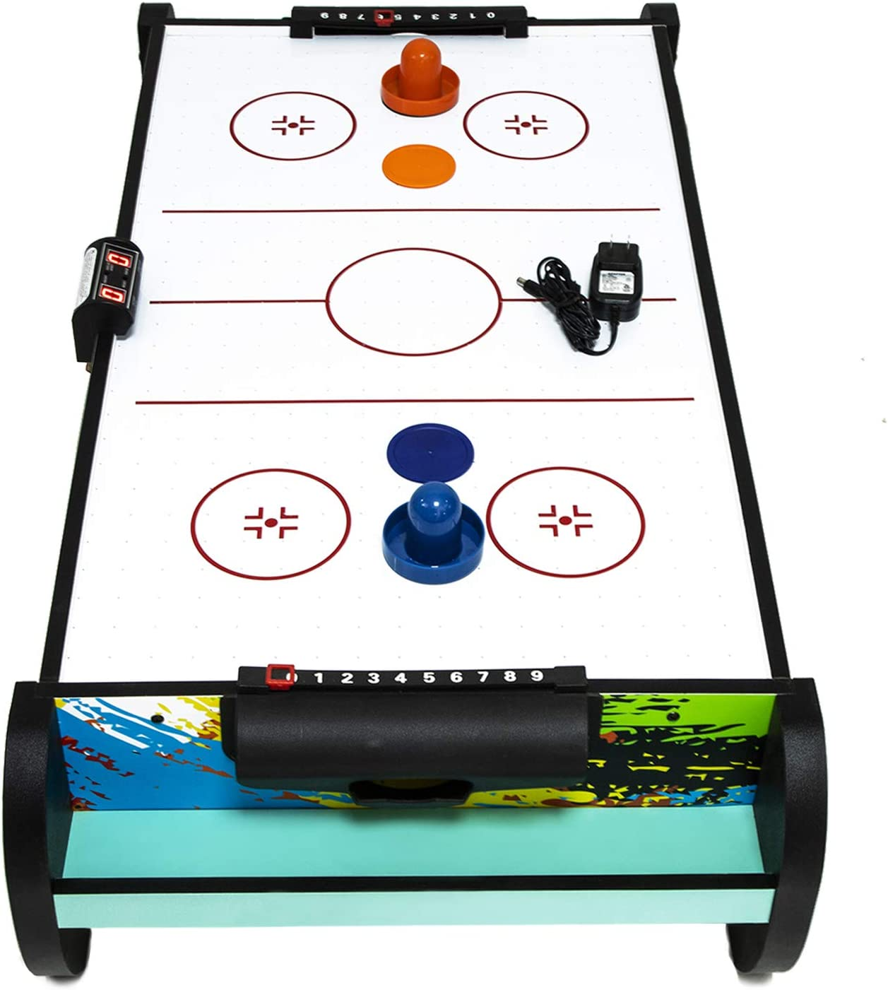 Air Hockey Table Tabletop Air Hockey Games for Kids 2 Pucks Electric Motor Fan for Blazing Speed with LED Score Board for Game Room Teens and Adults Play Fun Table-Top Game with 2 Strikers Office