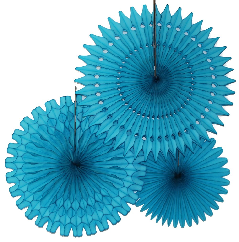 Hanging Honeycomb Tissue Fan, Turquoise, Set of 3 (13 inch, 18 inch, 21 inch)