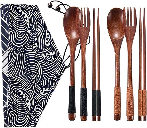 Juego de cubiertos de camping de bambú con bolsa de viaje, cuchara de tenedor y palillos de paja todo en uno, utensilios portátiles reutilizables - ...