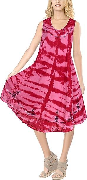 LA LEELA Vestido de Fiesta Hawaiano Maxi Bordado del Tinte del Lazo de rayón