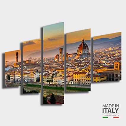 Quadri Moderni soggiorno FIRENZE città Duomo Skyline tramonto sunset ...