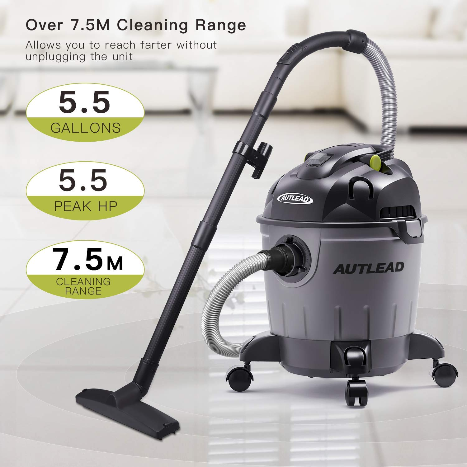 AUTLEAD Wet Dry Vacuum WDS01A 5 Gallon Pure Copper Motor 5.5 HP Wet/Dry/Blow 3 in 1 Shop Vac, Stable Round Bucket Design with Pulley System, HEPA Disposable Bag, 3 Brush Included[US Stock] by AUTLEAD (Image #2)