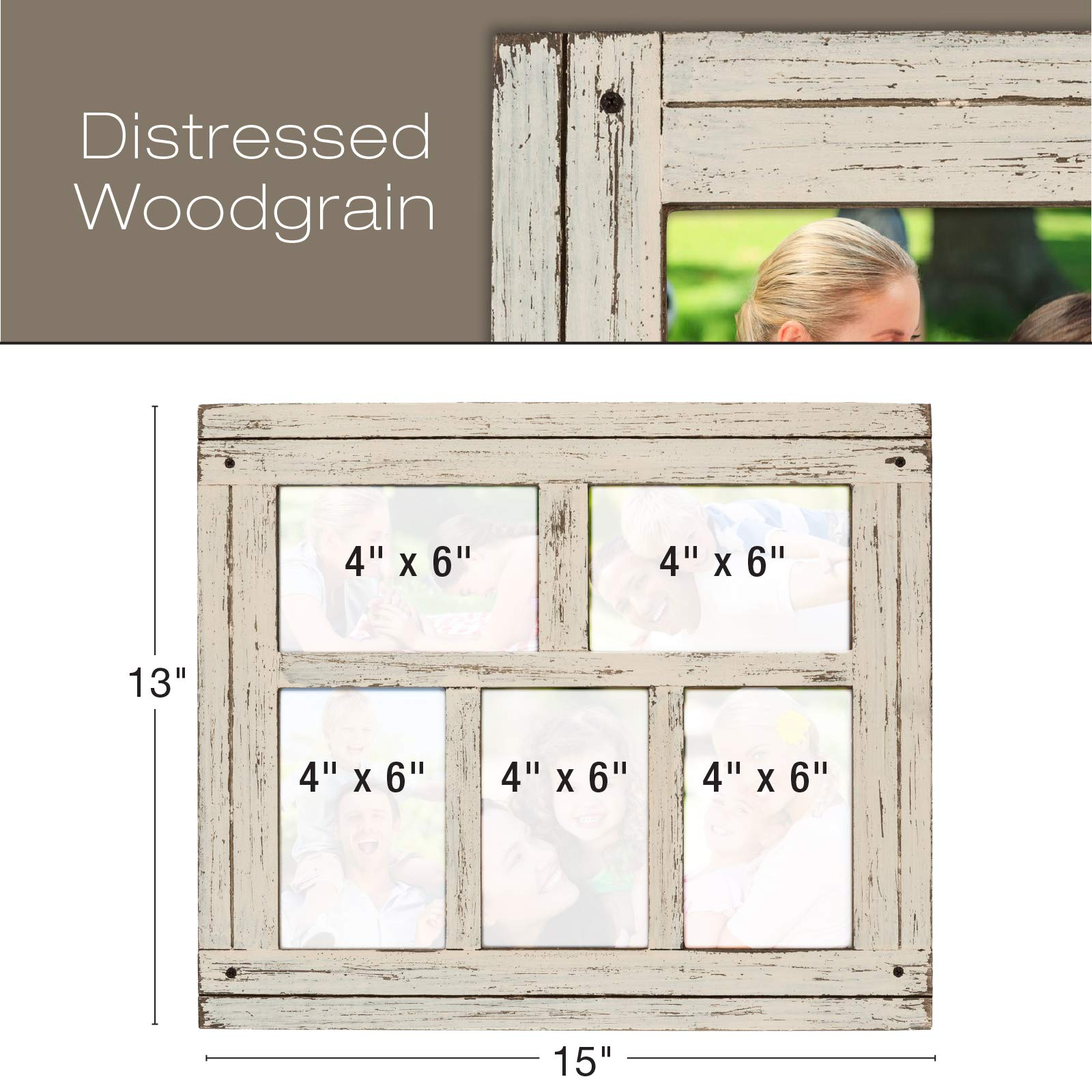Collage Picture Frames from Rustic Distressed Wood: Holds Five 4x6 Photos: Ready to Hang or use Tabletop. Shabby Chic, Driftwood, Barnwood, Farmhouse, Reclaimed Wood Picture Frame Collage (White) by Excello Global Products (Image #3)