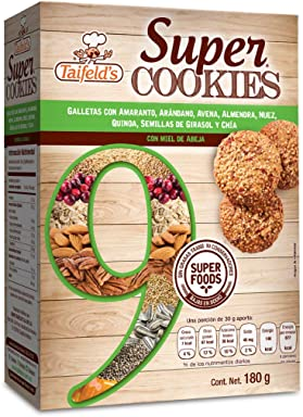 Taifelds Super Cookies with 9 Super Foods: Amaranth, Cranberry, Oats, Almond,