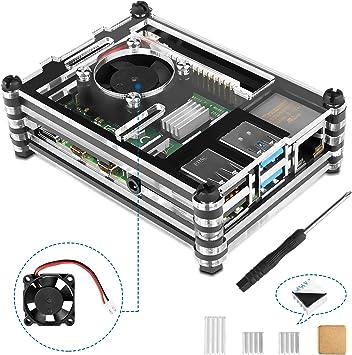 Kupton Protector Raspberry Pi 4 Modelo B con Ventilador de Refrigeración y Disipadores de Calor, Incluye ...