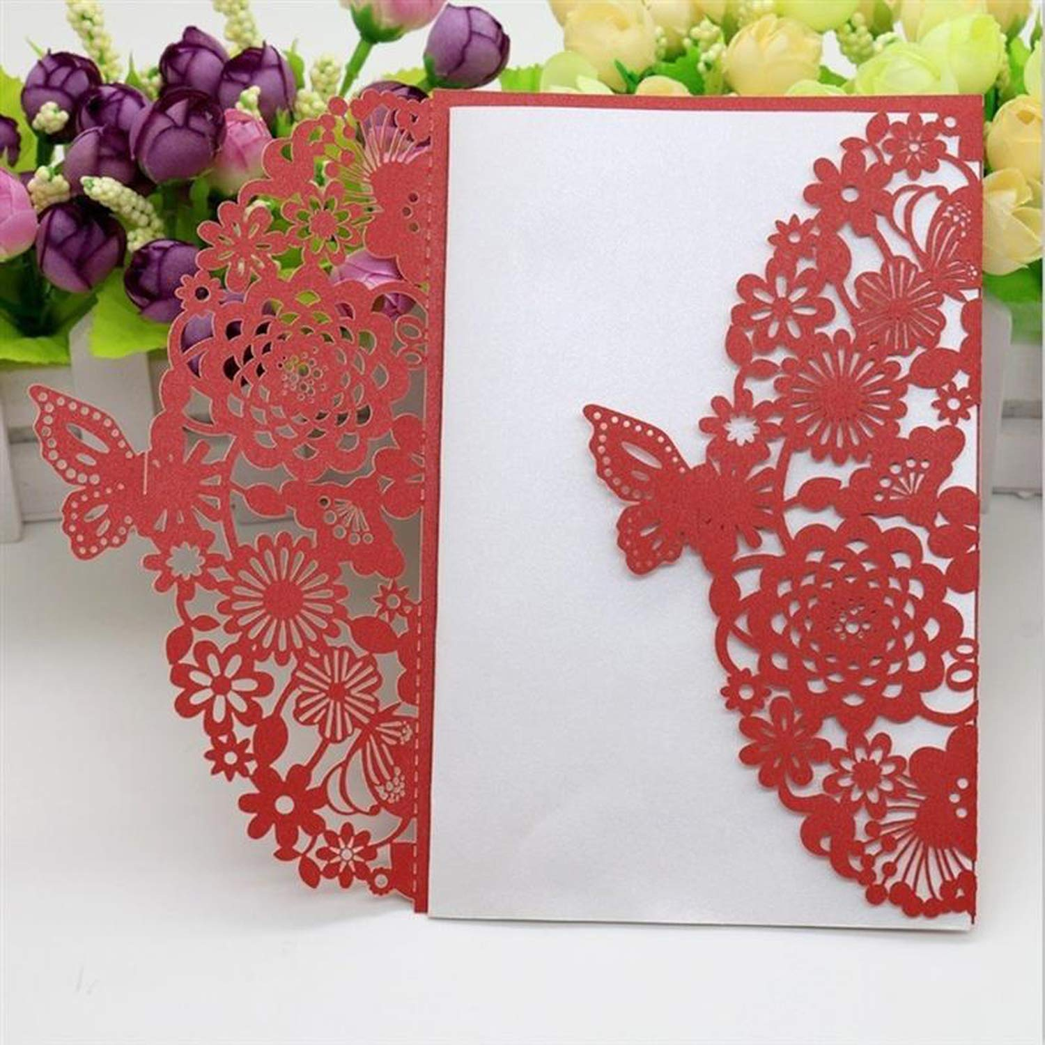 Amazon.com: 10Pcs Butterfly Hollow Wedding Invitation Cards for ...