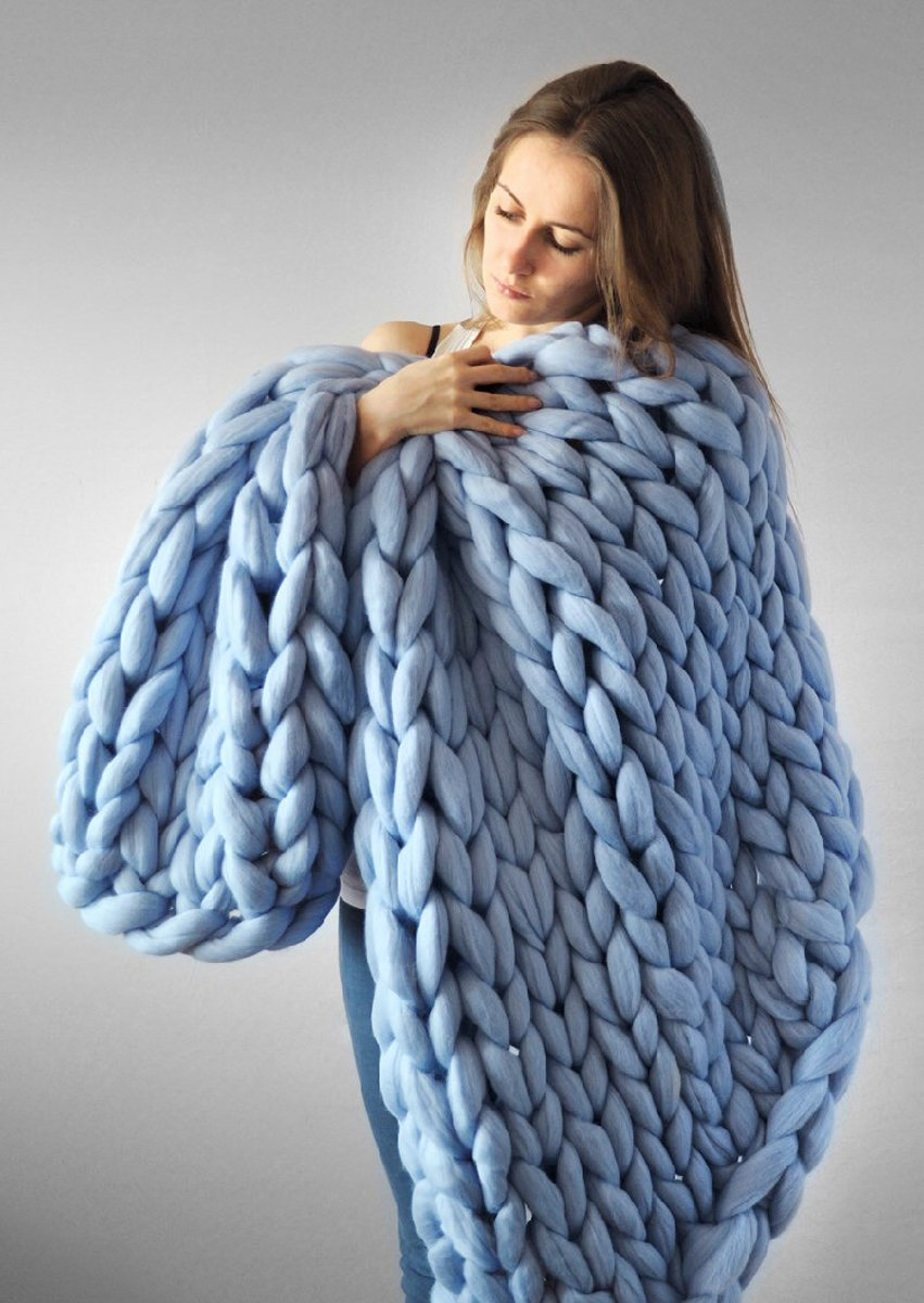 Chunky Giant Knit Throw Hand-made Thick Yarn Blanket Bulky Knit Bulky Knitting Yarn Blanket Pet Bed Chair Sofa Yoga Mat Rug BADIER Blue 100200