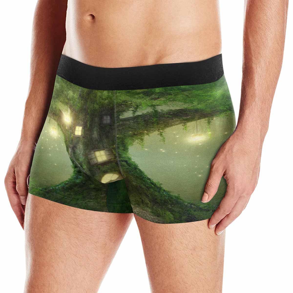 INTERESTPRINT Mens Boxer Briefs Underwear Fantasy Tree House in Forest XS-3XL