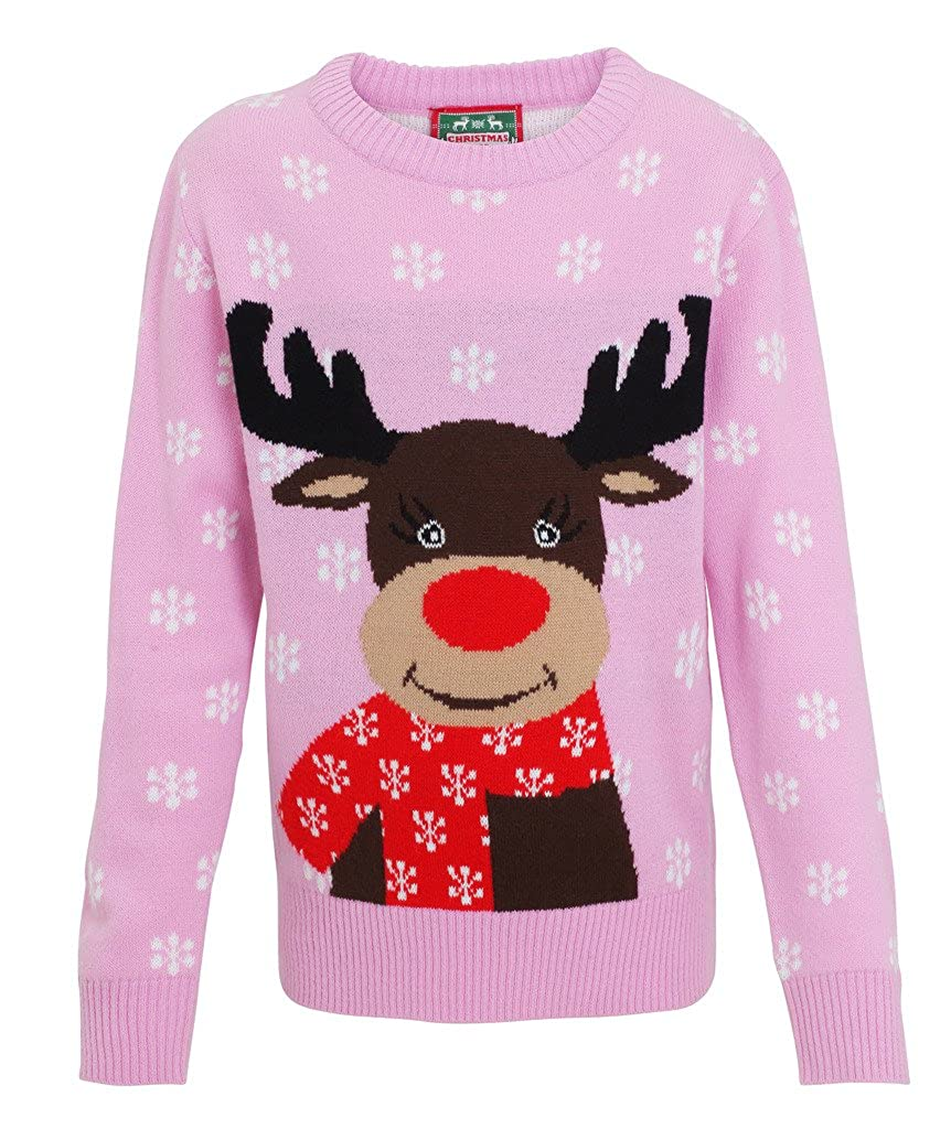 Kids Christmas reindeer knitted jumper-Xmas Jumper reindeer for girls