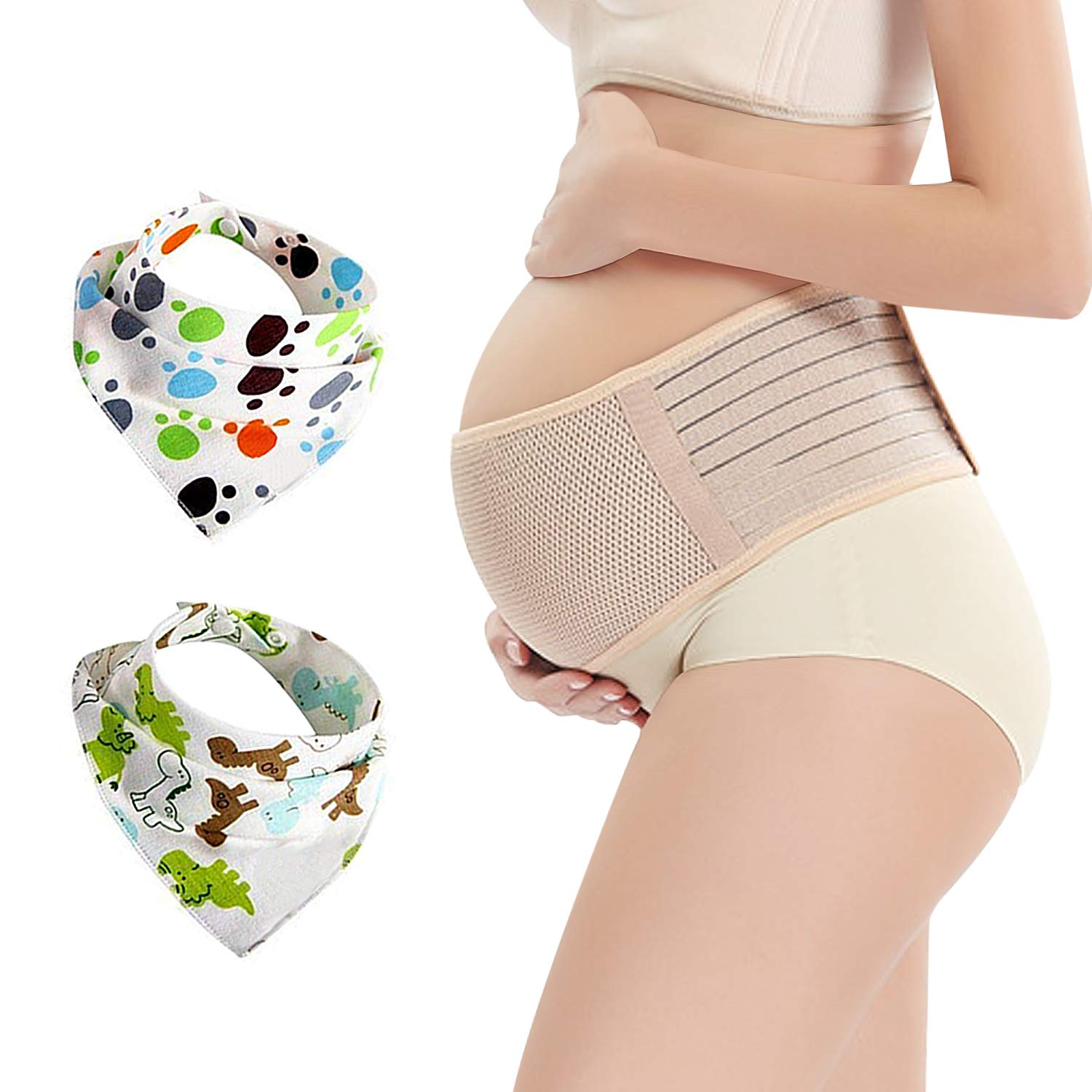 Maternity Belt with 2 Baby Bibs, Support Belly for Pregnancy Women with Back & Pelvic Pain, Plus Size, Beige