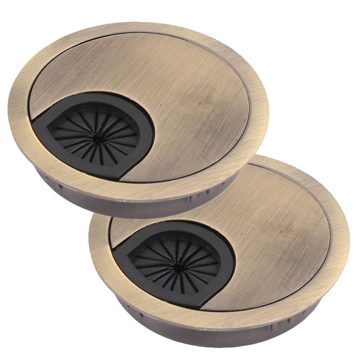Antrader Cable Grommet Computer Desktop Metal Circle Grommets Nesting Wire Organizer Cable Hole Round Cover Cap 60mm Diameter Bronze Tone 2 Pack