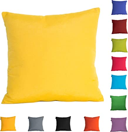 Dhestia Pack X 2 Fundas Cojines Decoración Sofá Y Cama 45X45 Cm Loneta Colores (Amarillo/Yellow), 45 X 45 Cm: Amazon.es: Hogar
