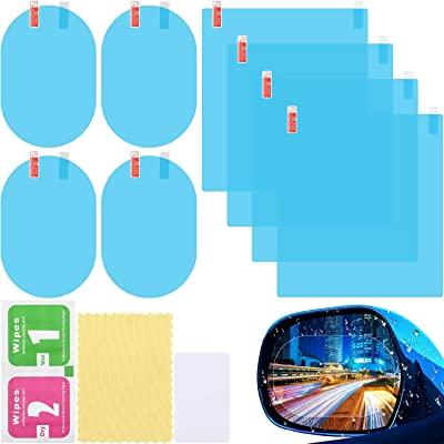 8 Pieces Car Rearview Mirror Film, Anti Fog Glare Rainproof Waterproof Mirror Film HD Clear Nano Coating Car Film, Protective Film Sticker for Car Rear View Mirrors and Side Windows: Automotive