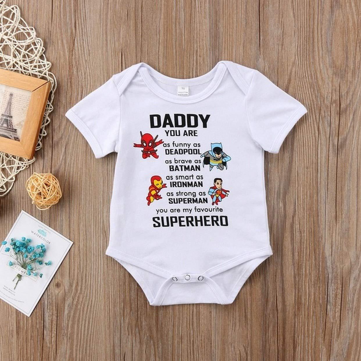 pap/à Sei Il Mio Eroe Preferito Daddy EVRYLON Body Neonati Divertenti Mezza Manica in Cotone con Scritta