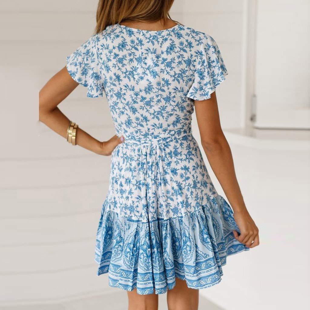 Corriee 2019 Gift Idea Womens Boho Dress Summer Short Sleeve Floral Print V Neckline Mini Dress Sundress