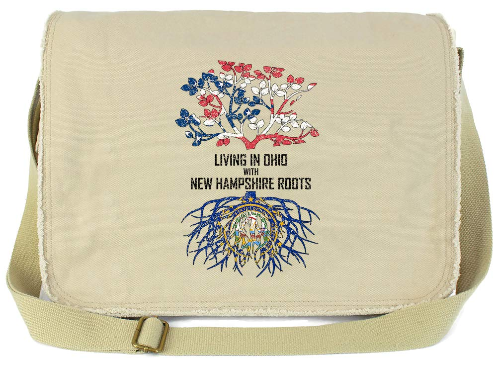Tenacitee Living In Ohio with New Hampshire Roots Grey Brushed Canvas Messenger Bag